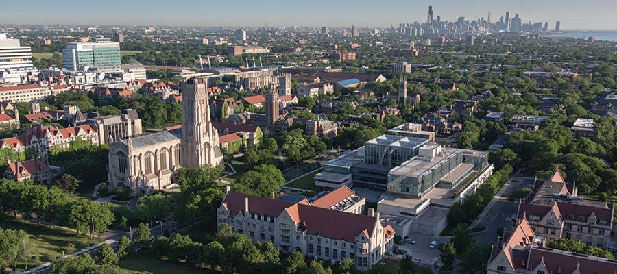 view of University of Chicago campus and Chicago skyline