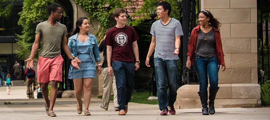 University of Chicago students walking